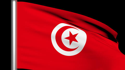 Flag Tunisia 01 Render Animation