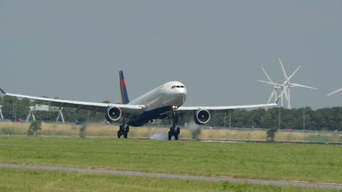 big DELTA airplane landing super close 11039 Stock Video Footage