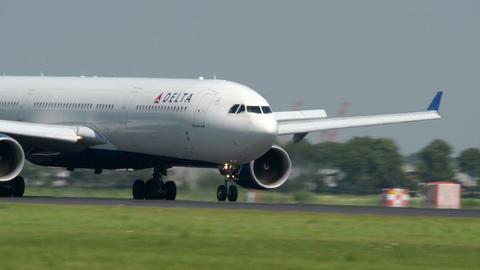 big DELTA airplane landing super close 11039 Stock Video Footage