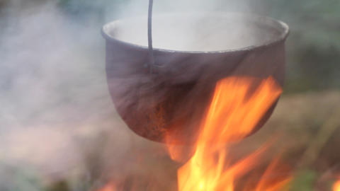 cooking in a kettle Stock Video Footage