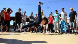 B-Boying crews warmup Stock Video Footage