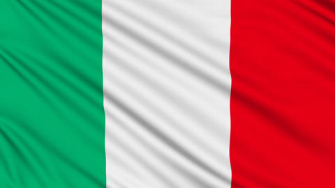 Italian flag, with real structure of a fabric Animation