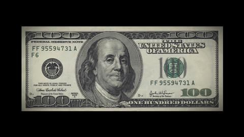 100 Dollar bill crashes down in fragments. HD. Alp Stock Video Footage