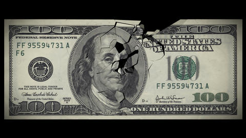 100 Dollar bill crashes down in fragments. HD. Alp Animation