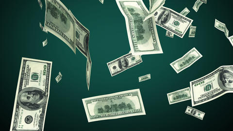 100 Dollar bills flying up in looped animation. HD Animation