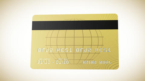 Gold credit card in HD showing both sides and flyi Animation