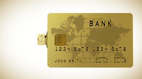 Gold credit card in HD showing both sides and flyi Stock Video Footage