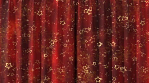 Curtain opening red stars. HD 1080 Animation