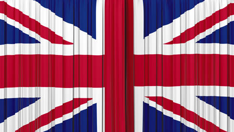 United Kingdom flag curtain, Opening and closing 3 Animation