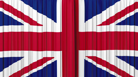 United Kingdom flag curtain, Opening and closing 3 Stock Video Footage