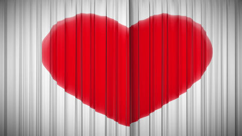 Curtain With Heart Opening And Closing. HD 1080 stock footage