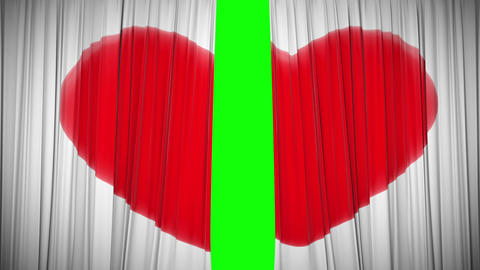 Curtain with Heart opening and closing. HD 1080 Stock Video Footage