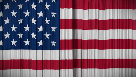 USA flag curtain, Opening and closing 3d animation Animation