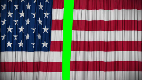 USA flag curtain, Opening and closing 3d animation Stock Video Footage