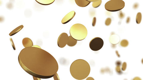Gold coins rising on white. Beautiful Looped anima Stock Video Footage