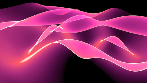 Abstract pink light curve,satin ribbon & soft silk veils,flowing digital wav Animation