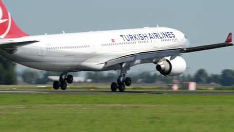 Turkish Airlines Airbus A 330 airplane landi 11041 Stock Video Footage