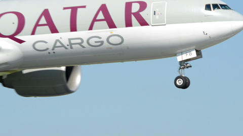 Qatar Cargo airplane landing late 11043 Footage