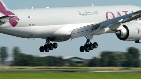 Qatar Cargo airplane landing late 11043 Stock Video Footage