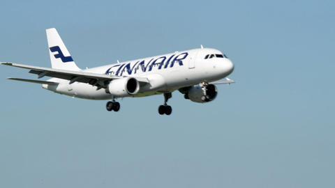 FINNAIR airplane landing 11045 Stock Video Footage