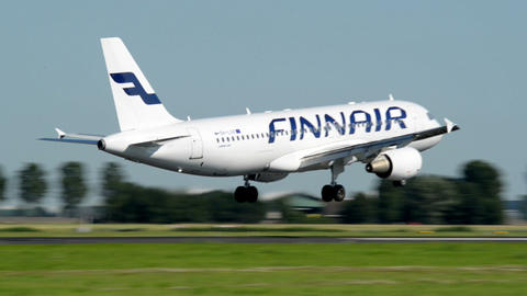 FINNAIR airplane landing 11045 Stock Video Footage