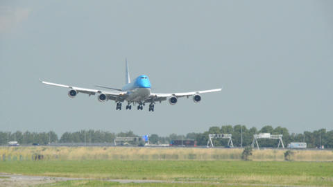 KLM Boeing 747 Jumbo airplane landing close 11047 Stock Video Footage