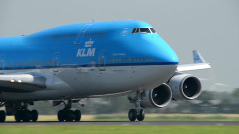 KLM Boeing 747 Jumbo airplane landing close 11047 Stock Video Footage