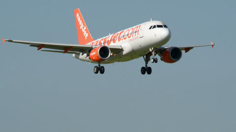 Easy Jet airplane landing11049 Stock Video Footage