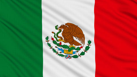 Mexican flag, with real structure of a fabric Animation