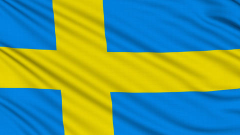Swedish flag, with real structure of a fabric Animation