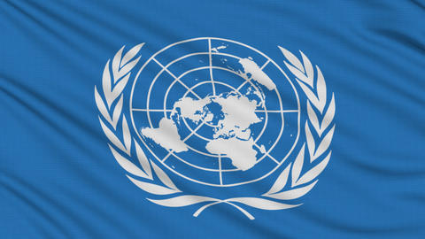 UN flag, with real structure of a fabric Animation