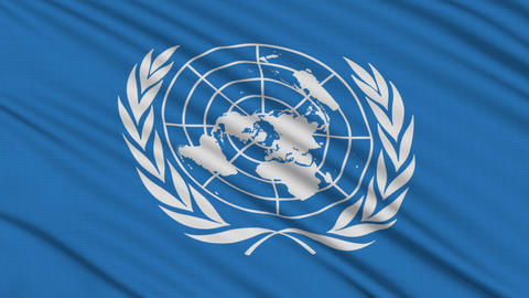 UN flag, with real structure of a fabric Stock Video Footage