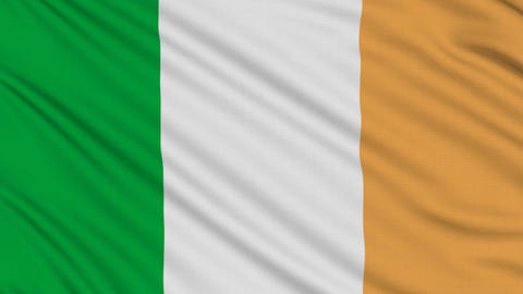 Irish flag, with real structure of a fabric Stock Video Footage