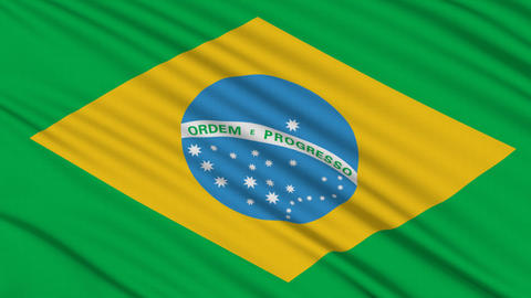 Brazilian flag, with real structure of a fabric Stock Video Footage