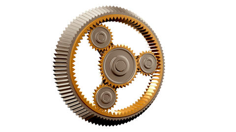 Gears in Looped rotation. Turning. HD 1080, Alpha Animation
