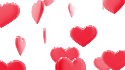 Beautiful Glossy Hearts In Looped Animation. HD 10 stock footage
