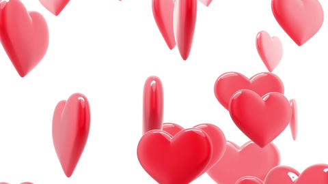 Beautiful glossy Hearts in looped animation. HD 10 Stock Video Footage