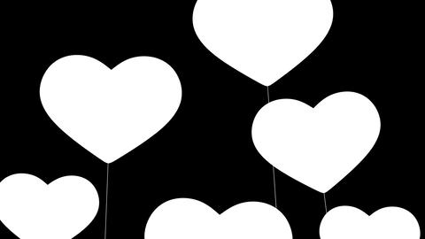 Heart-shaped balloons. I love You. Alpha mask. HD Stock Video Footage