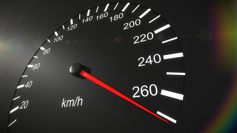 Car speedometer and moving pointer on it. HD Stock Video Footage