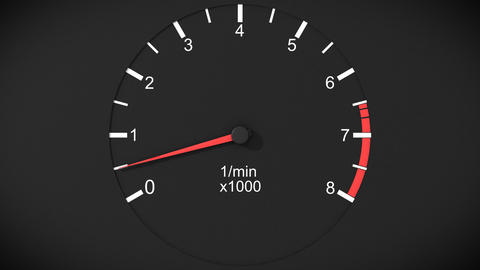 Car tachometer and moving pointer on it. Front vie Stock Video Footage