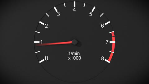 Car tachometer and moving pointer on it. Front vie Animation
