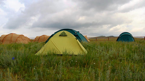tourist tent on nature Stock Video Footage