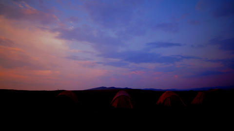 tourist tent on nature sunset time lapse Footage