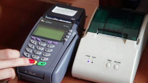 Credit Card Terminal Stock Video Footage