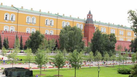 Alexander Gardens at Kremlin Wall Stock Video Footage