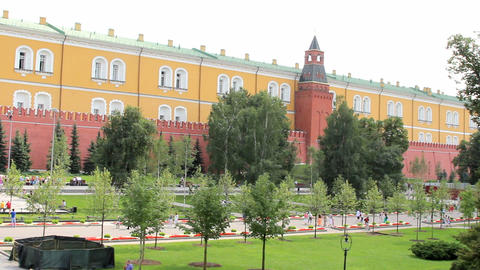 Alexander Gardens at Kremlin Wall Stock Video Footage