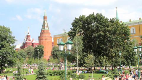 Corner Arsenalnaya Tower of Kremlin Stock Video Footage