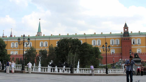 Manezhnaya Square near Moscow Kremlin Stock Video Footage