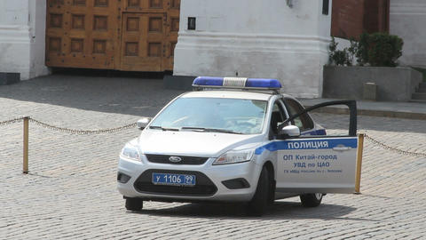 Police Car at Red Square Stock Video Footage