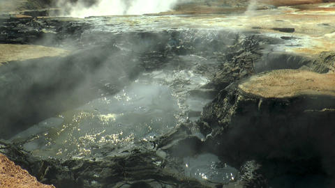 field of mud pools and fumaroles at hverir in icel Stock Video Footage